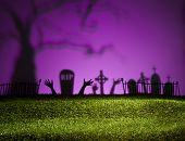 image of horrific  - Halloween landscape with tree graveyard and green grass - JPG