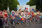 MOSCOW - AUG 5: Female participants of cycle parade Lady on Bicycle at Sokolniki park, August 5, 201