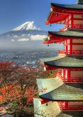 stock photo of mount fuji  - Pagoda and Fuji in Japan - JPG