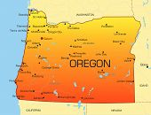 stock photo of boise  - Vector color map of Oregon state - JPG