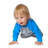 picture of inquisition  - Inquisitive child crawling on the floor isolated on white background - JPG
