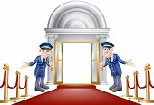 stock photo of first class  - An illustration of a red carpet entrance with velvet ropes and two doormen welcoming the viewer in - JPG