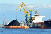 picture of coal barge  - cargo ship loading in coal cargo terminal - JPG