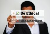 pic of ethics  - Male Professional Choosing to be ethical instead of using shortcuts - JPG