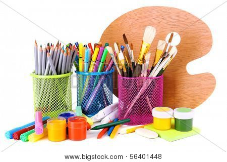 Composition of various creative tools isolated on white