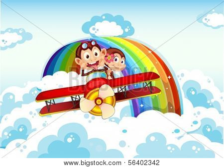 Illustration of the playful monkeys riding on a plane near the rainbow