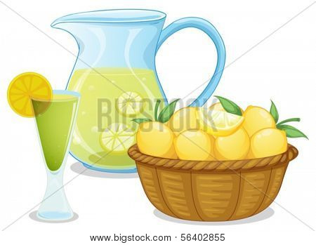 Illustration of a basket of lemon beside the pitcher with lemonade on a white background