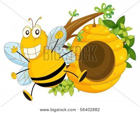 Illustration of a branch of a tree with a beehive and a bee on a white background