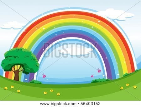 Illustration of a rainbow in the sky