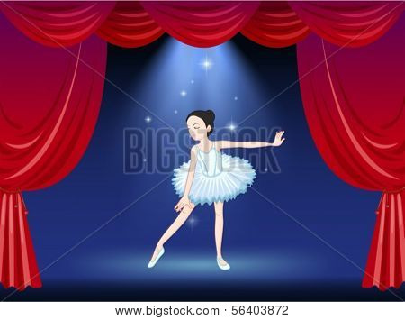 Illustration of a ballerina dancing at the stage
