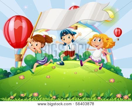 Illustration of the kids with an empty banner running at the hilltop with a rainbow