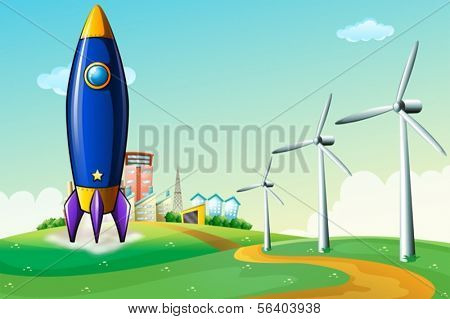 Illustration of a rocket at the hill near the windmills