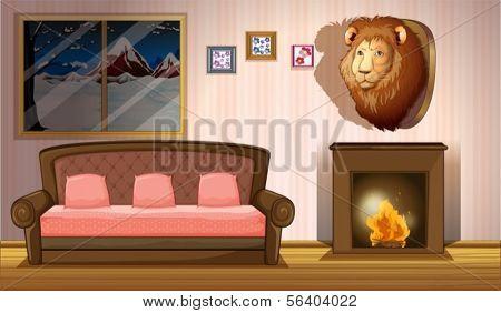 Abbildung aus einem Zimmer mit einem Löwe-Wand-Dekor