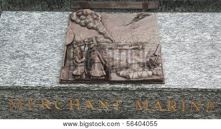 Merchant Marine 3D relief art sculpture in San Francisco