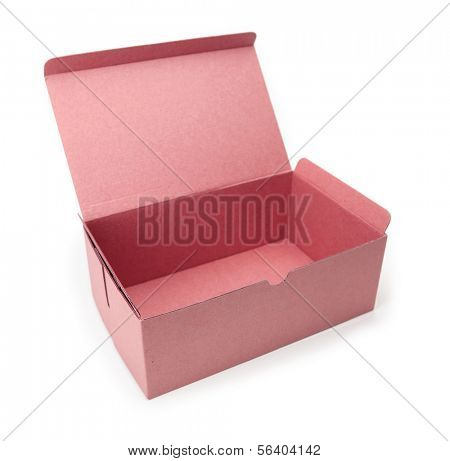 Red box with lid open, isolated on white.