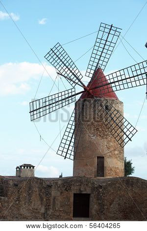 Old Stone Windmill With Six Vanes