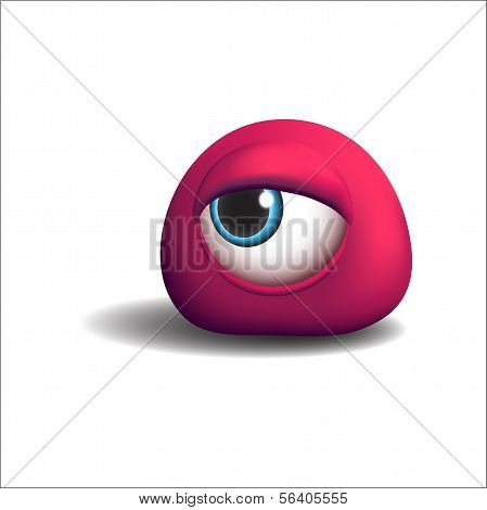3d red eye monster