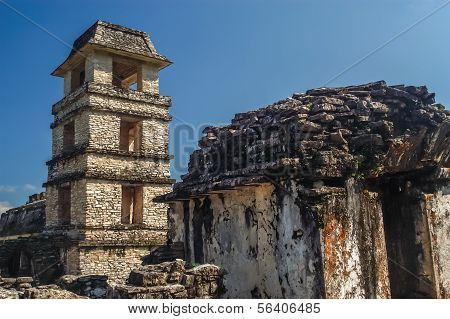 Observation tower in ancient city Palenque