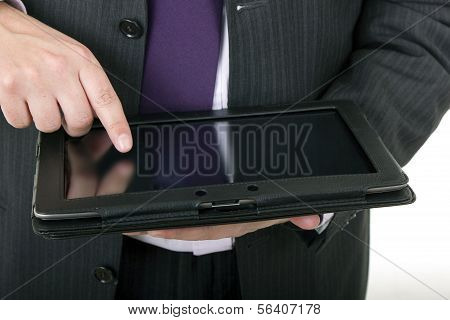 Businessman Using Touch Pad, Close Up Shot, Isolated