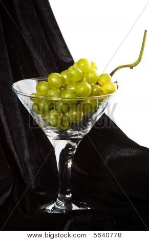 Green Grapes In Glass