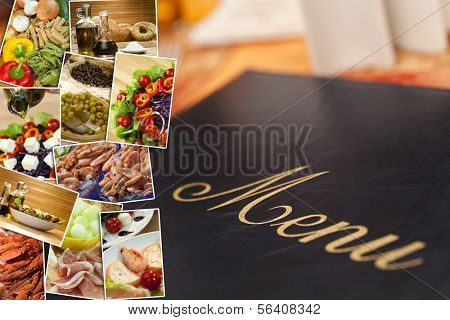Montage of a menu and healthy Mediterranean style foods, breads, salmon, spaghetti, peppers, tomatoes, vegetables, garlic, ham, olive oil, melon and cheese.