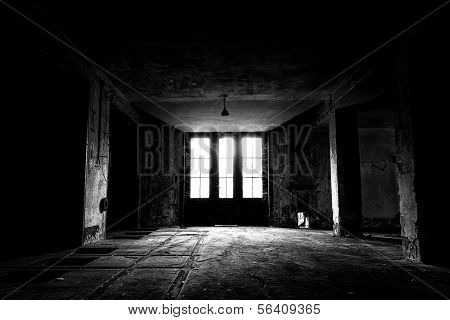 A Old Abandoned Industrial Building Interior