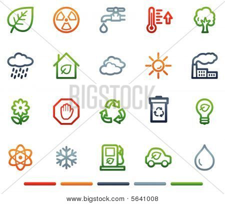 Ecology web icons, colour symbols series