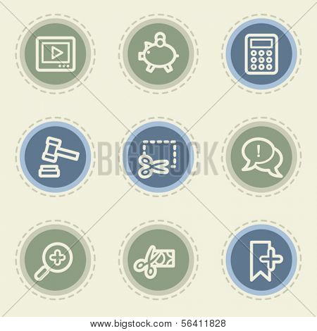 Shopping web icon set 3, vintage buttons