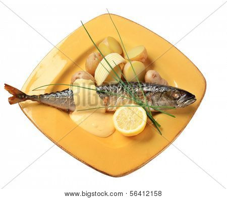 Baked mackerel with Hollandaise sauce and new potatoes