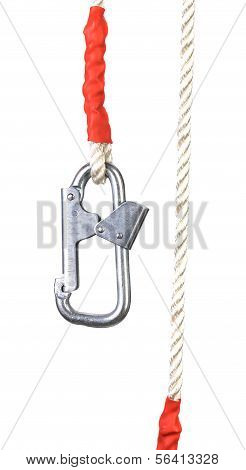 Carabiner and rope.