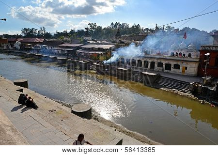 Human Cremation Along The Holy Bagmati River At Pashupatinath, Nepal