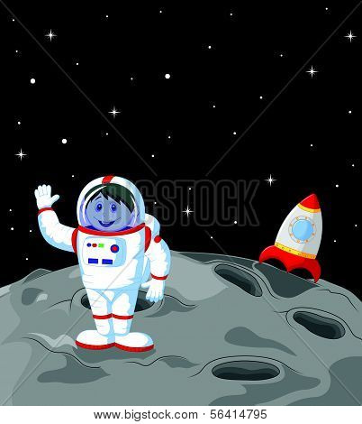 Astronaut cartoon landing on the moon