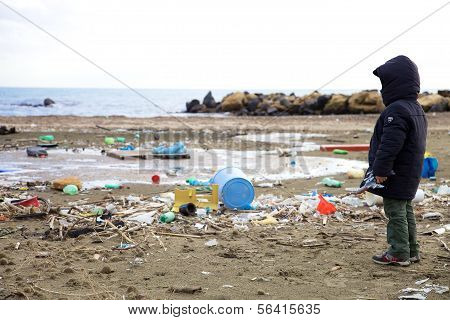 Kid Watching Pollution On The Beach Ecological Disaster