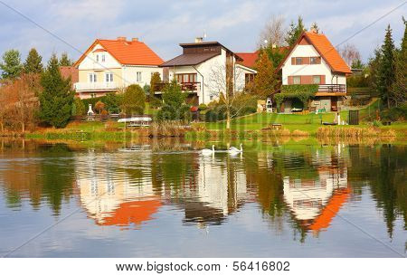 The Litice Village houses on the bank Czech Valley Reservoir. Suburban district of a Pilsen City. Czech Republic, Europe