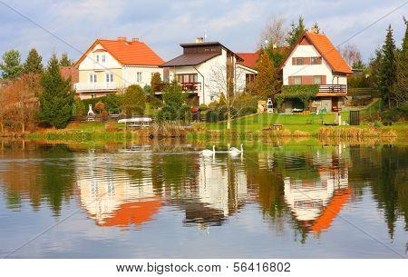 The Litice Village houses on the bank Czech Valley Reservoir. Suburban district of a Pilsen City. Czech Republic, Europe