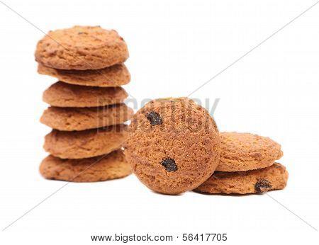Stake oatmeal cookies with raisins
