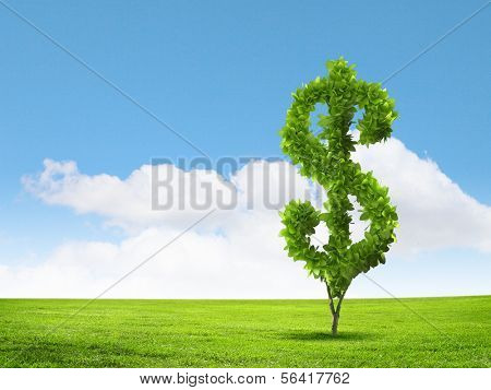 Conceptual image of green plant shaped liked dollar