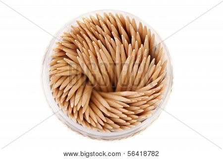 Toothpicks in a round box. Top view.