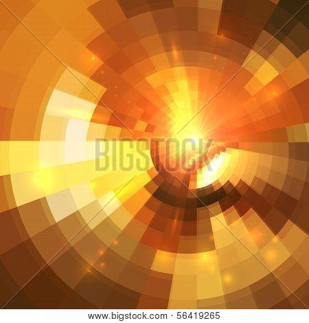 Abstracto naranja brillante fondo círculo túnel