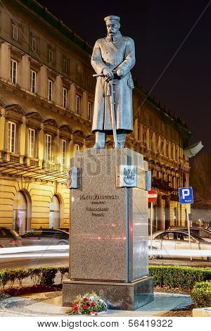 Jozef Pilsudski Monument At Night In Warsaw