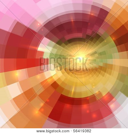 Abstract orange shining circle tunnel background