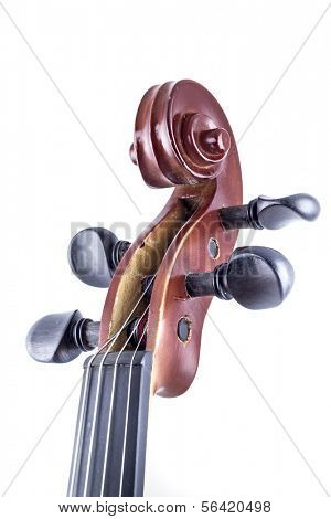 Wooden Violin front view isolated on white, vintage
