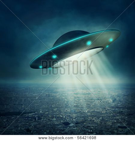 UFO flying in a dark sky