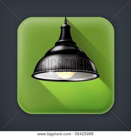 Black Lamp, long shadow vector icon
