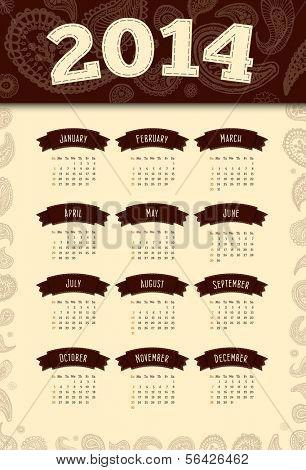 Retro vintage 2014 calendar with paisley floral oriental design elements