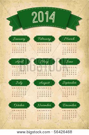 Vector green vintage grunge 2014 calendar