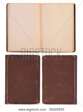 Blank, old open book with front and back covers isolated on white background