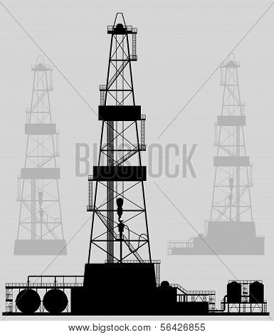 Oil rigs silhouette. Detailed vector illustration.