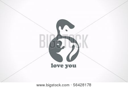 Couple in Love vector logo template. Happy Valentine's day! Yin Yang creative design concept icon.