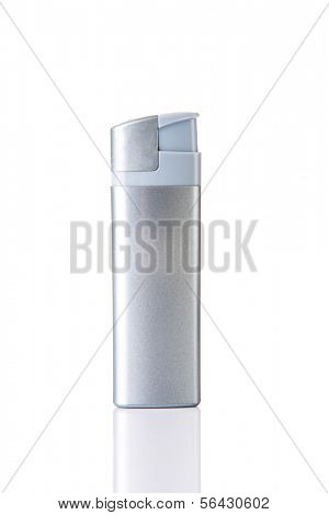 Silver lighter. Isolated on white.